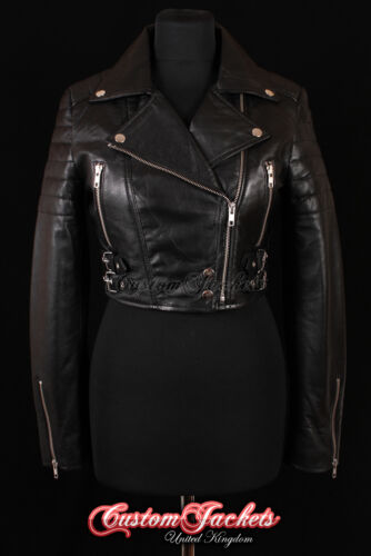 Cropped di Ladies Black Giacca Designer pelle vera Style Vogue in agnello Biker OwaEvBTqxw