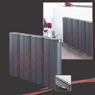 """Instancabile 748mm (w) X 600mm (h) """"onda"""" Antracite Orizzontale Radiatore In Alluminio - 3824 Btu-mostra Il Titolo Originale"""