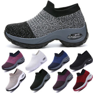 Women-039-s-Air-Cushion-Sport-Running-Shoes-Breathable-Mesh-Walking-Slip-On-Sneakers