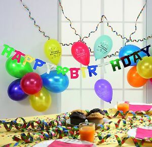 geburtstag set happy birthday 20 bunte teile luftballons girlande party deko ebay. Black Bedroom Furniture Sets. Home Design Ideas