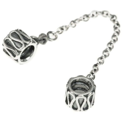 Sterling Silver Wave Flower Pattern Safety Chain For European Charm Bracelets
