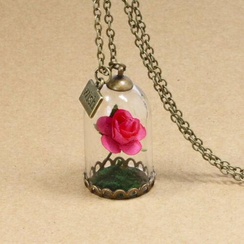 Glass Ball Dandelion Pendant Necklace Clover Rose Wish Flowers Women Men Jewelry