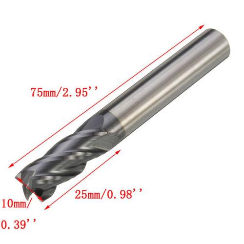 Fresa 10mm 4 taglienti Flute Tungsten Carbide End Mill 75mm Length Flat Bottom