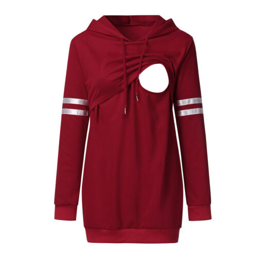 Pregnant Women Maternity Hooded Sweatshirt Stripe Breastfeed Nursing Tops Blouse