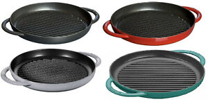 Staub-Cast-Iron-10-034-Round-Enamel-Pure-Grill-4-COLORS-CHOICE-NEW
