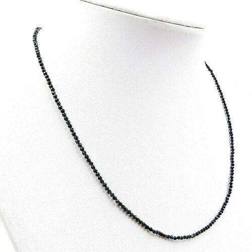 BAILYSBEADS fein schwarz Spinell Kette Halskette D-2mm goldfarbige Verschluß 008