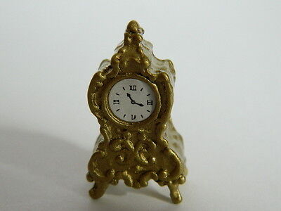 (a2) 1/12th Scala Casa Delle Bambole Color Oro Non Lavorativo Mantel Clock-mostra Il Titolo Originale Non-Stireria
