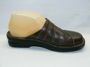 Clarks-Women-Brown-Size-6-M-Leather-Slip-On-Mules-Round-Toe-Comfort-Shoes