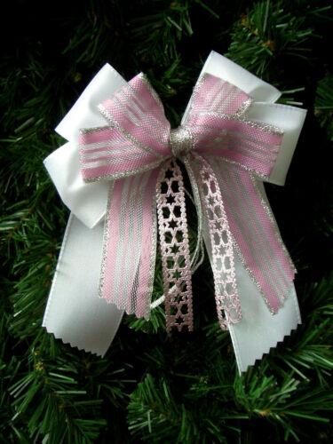 Weihnachten*4//10//12*Weihnachtsschleifen*Christbaum*Schleifen*rosa/&silber*
