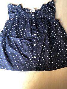 fd551d3f4cbd9a Das Bild wird geladen Bluse-H-amp-M-Gr-98-Dunkelblau-Punkte