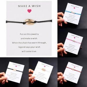New-Wish-String-Charm-Adjustable-Bracelet-039-Make-A-Wish-039-Friendship-Jewelry-Card