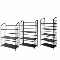 Metal Shelve Bookcase Cd & Video Tools Rack Black Finish 3 ,4 Or 5 Shelves