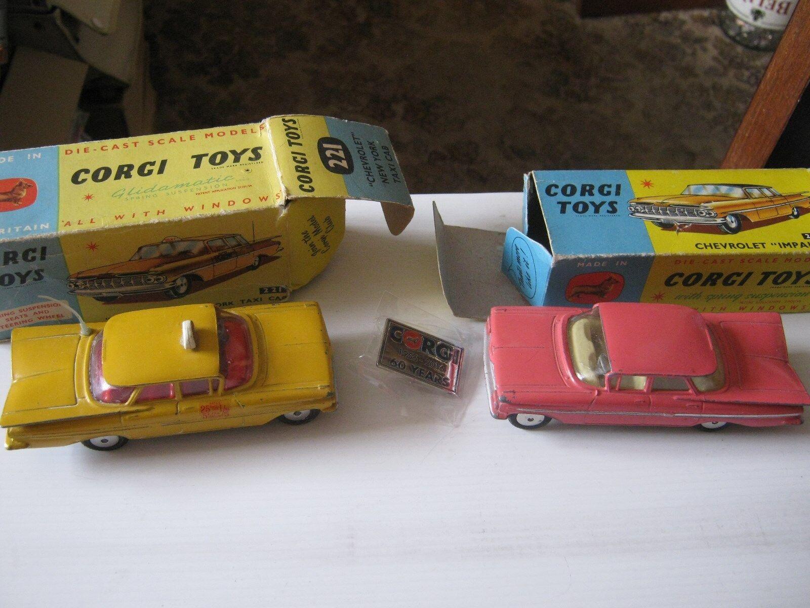 costo effettivo CORGI 220 221 coppia di originali CHEVROLET CHEVROLET CHEVROLET come mostrato in buona età indossato ORIG scatole  sconto online di vendita