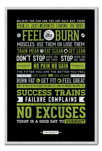 Framed Gym Motivational Quotes Poster Ready To Hang Choice Of Frame Colours