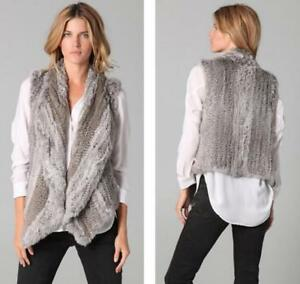 Women's Lapel Real Rabbit Fur Vest Knitted Waistcoat Cardigan Sleeveless Jacket