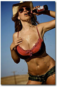 newest collection eb3cc ee351 Image is loading Jordan-Carver-Cold-Drinks-Sexy-Cowgirl-Fridge-Magnet-