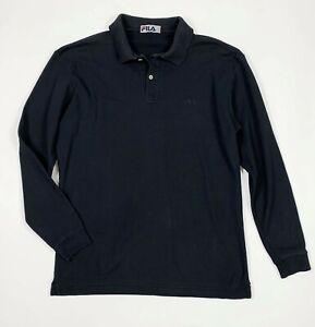 Dettagli su Fila polo maglia t shirts uomo usato XL tg 50 manica lunga nero  used T5742