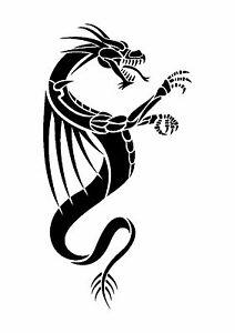 Medieval-Dragon-Tattoo-style-stencil-350-micron-Mylar-not-thin-stuff-TaT009