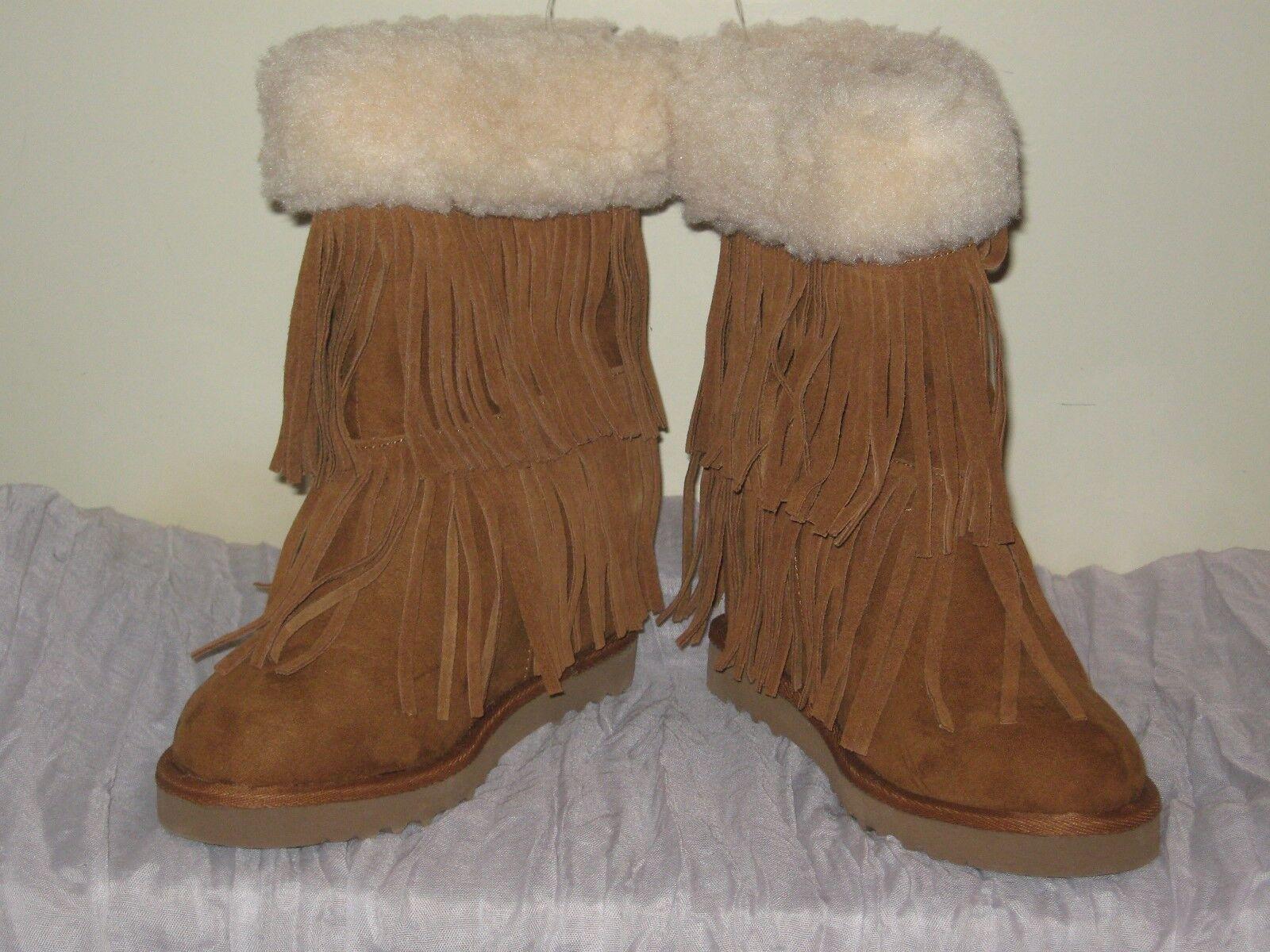 Madden Girl Brown Leather Fringe Boots Faux Fur JR Size 6 NIB  SH14