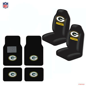 new nfl green bay packers car truck seat covers carpet floor mats set. Black Bedroom Furniture Sets. Home Design Ideas