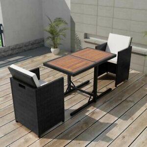 Dettagli Su Vidaxl Set Tavolo E Sedie Da Giardino 7x In Polyattan Nero Tavolino Seggiole