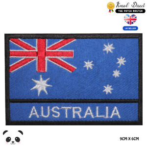 Australia-National-Flag-With-Name-Embroidered-Iron-On-Sew-On-Patch-Badge