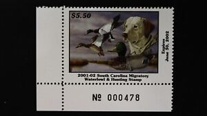 DR-JIM-STAMPS-US-STATE-DUCK-5-50-SOUTH-CAROLINA-WATERFOWL-SC-21-MINT-NH-2001