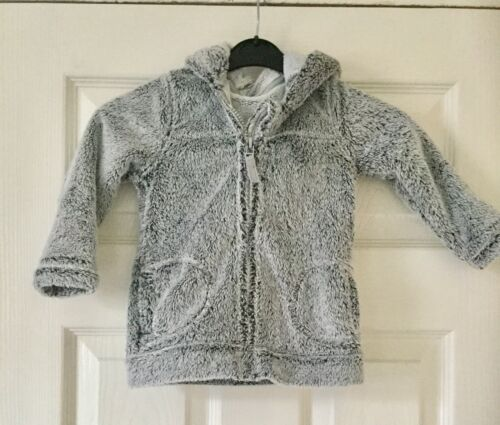 Baby coat grey soft fleece boy girl jacket with hood size 12-18 months
