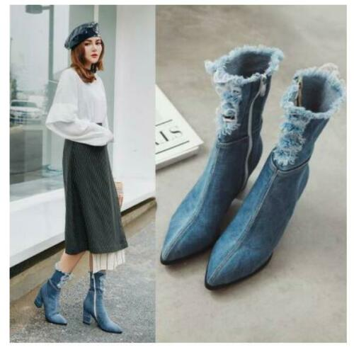 Details about  /Fall Winter Women/'s Denim Ankle Elegant Boots Pointed Toe Zip Block Heels Shoes