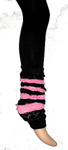 BLACK-FOOTLESS-STRIPED-PINK-LEGWARMER-TIGHTS-OPAQUE-SCENE-HARAJUKU-FRUITS-DANCE