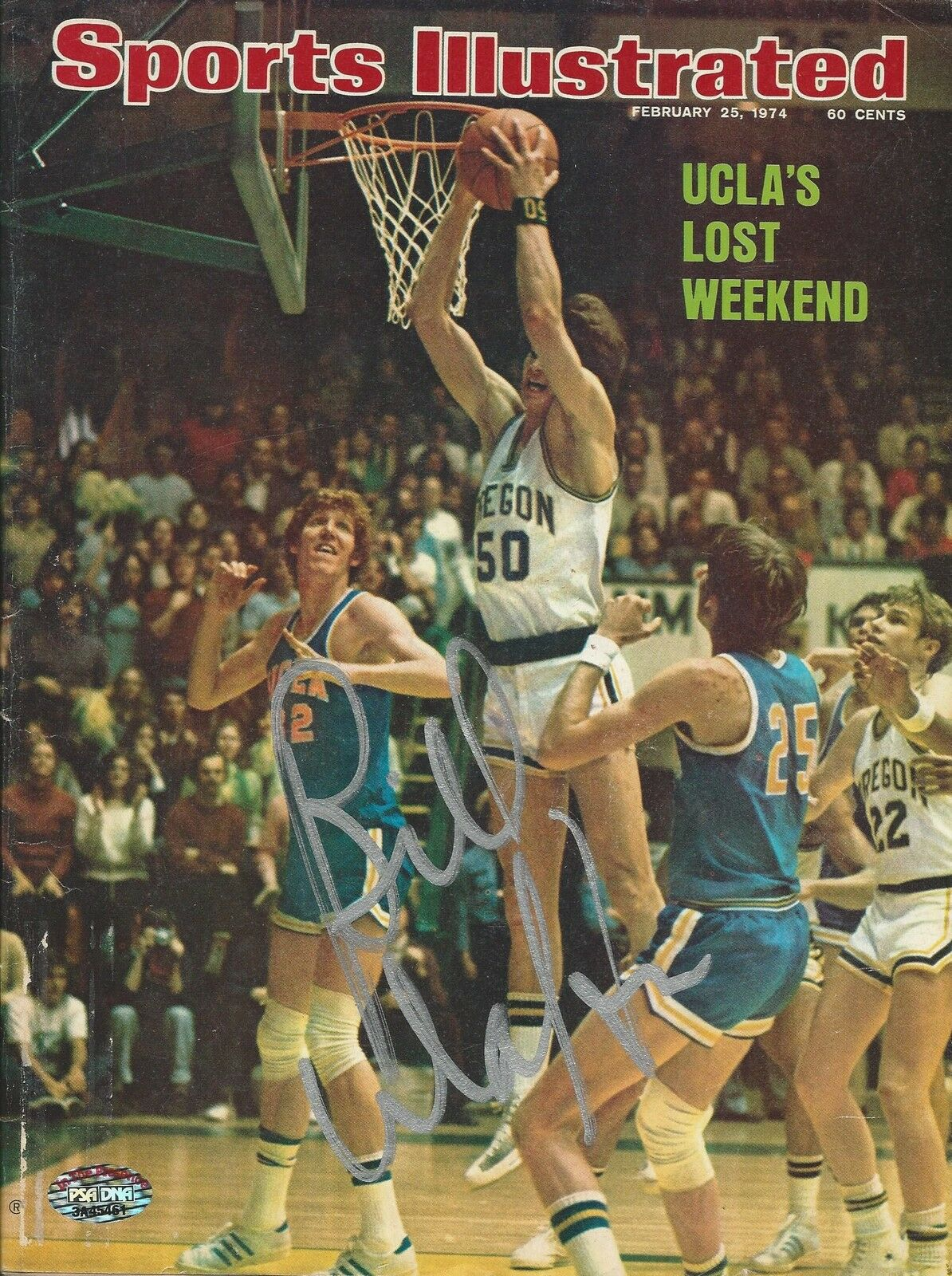 Bill Walton UCLA signed 1974 Sports Illustrated Magazine PSA/DNA COA# 3A45461