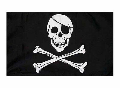 "Pirate Skull & Cross Bones Flag - Large 5 x 3"" - 100% Polyester - Jolly Roger"