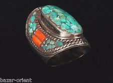 Traditioneller Tibetischer Türkis Ring tibetan turquoise ring neusilber  Nr.19