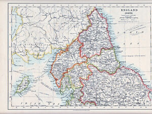 Map Of England North.Details About 1912 Map England North Cumberland Northumberland Durham York Etc