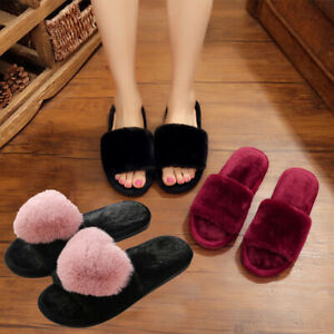 Women-Lady-Faux-Fur-Plush-Slippers-Flat-Shoes-Fluffy-Flip-Flop-Holiday-Home-Gift
