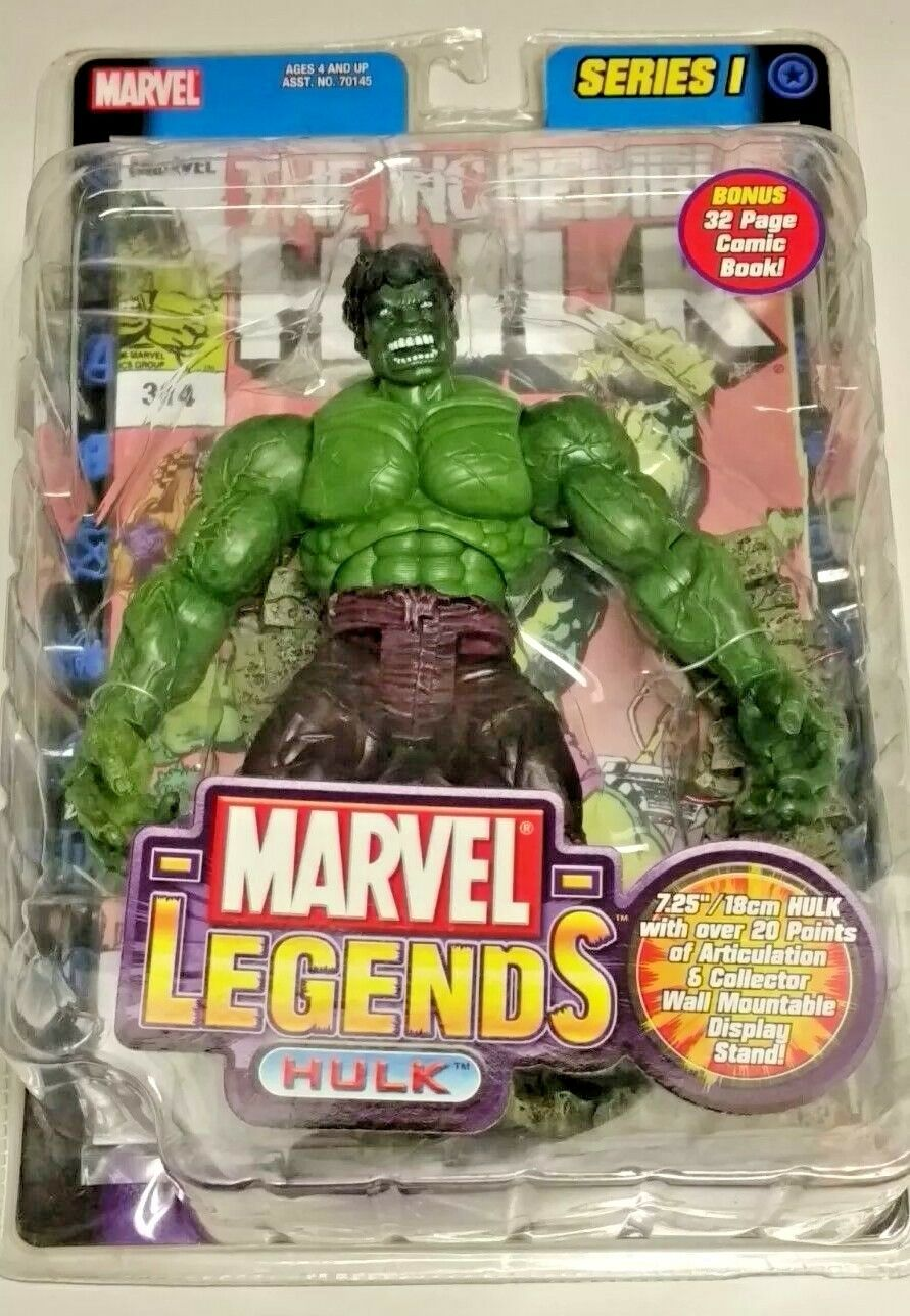 "Marvel Legends IncROTible Hulk 7"" Action Figure and Comic, Series 1, ToyBiz"