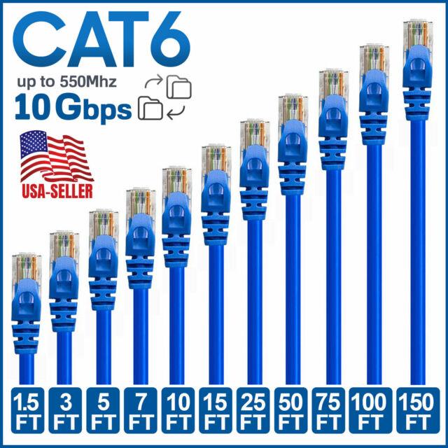 Blue 7ft. Cat5e Cat5 Ethernet Network LAN Patch Cable Cord RJ45 50 Pack Lot