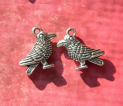 Special Order for Q - 12 RAVEN Bird + 2 LG Rabbit Charms d.i.y. Silver Fini