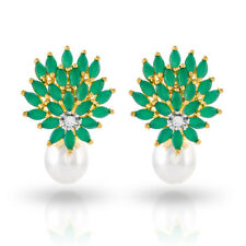 Cubic Zirconia Earring Emerald Pearl Stud  Collection D2
