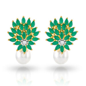 Cubic-Zirconia-Earring-Emerald-Pearl-Stud-Collection-D2