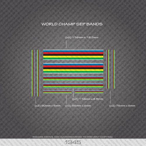 Bicycle Decals Stickers 01345 World Champion Stripes Bands White Edges