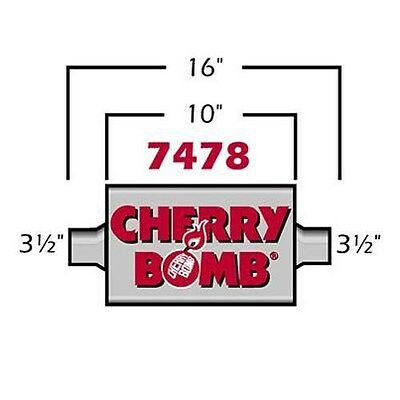 """3.5/"""" Extreme Cherry Bomb Muffler 4/"""" x 10/"""" Oval Center-Center 3.5/"""" IN 3.5/"""" OUT"""