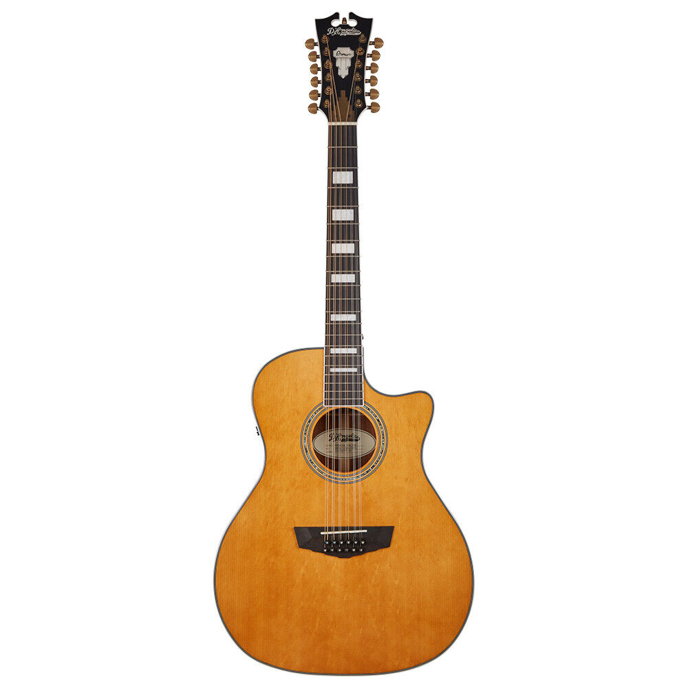 D'Angelico Premier Fulton 12-String Acoustic Electric Guitar, Vintage Natural