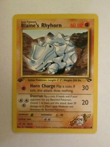 1st Ed Common PKGymC065f 65//132 Blaine/'s Rhyhorn Gym Challenge