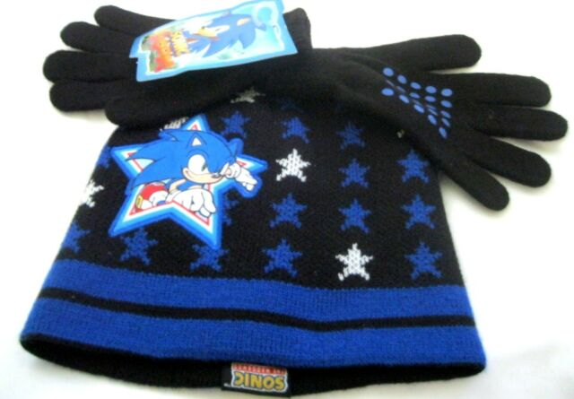 7566aacce3b Kid s Children s Sonic The Hedgehog Knitted Beanie and Gloves Set -Sonic  Boom