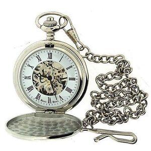 Boxx-Mens-Roman-Numerals-Silver-Tone-Skeleton-Mechanical-Pocket-Watch-12-Chain