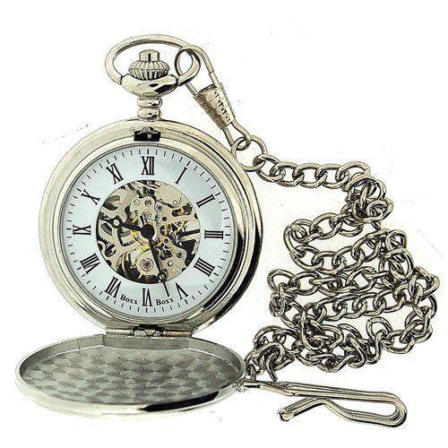 Boxx Mens Roman Numerals Silver Tone Skeleton Mechanical Pocket Watch 12 Chain