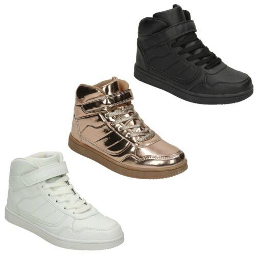 Femme Spot On À Lacets Décontractées Hi Top Baskets Noir Blanc Chaussures F50696