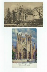 LOT-of-2-Building-of-the-Washington-Cathedral-D-C-1909-Divided-Postcards