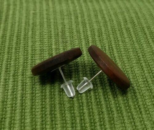 Wooden Stud Earrings Brown Earrings Vintage Bohemian Boho Women Wood Earrings